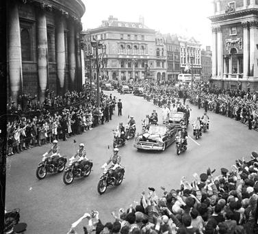 June 1963, US President JFK visits Ireland. The cavalcade passing the Central Bank at College Green, Dublin. Photo: Independent Newspapers and NPA National Photographic Archive