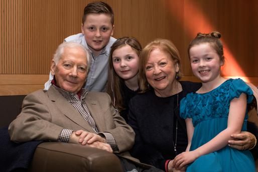 Family time: Gay and Kathleen Byrne with grandchildren Saoirse (8), Sadhbh (10) and Cian (12), at the Haven Gala Concert last night. Photo: Fergal Phillips.