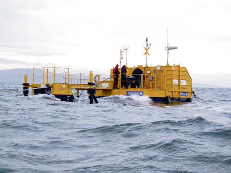 A wave energy device from Cork-based Ocean Energy which was previously tested in Galway Bay.