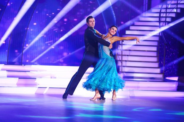Aidan O'Mahoney and Valeria Milova performing during the semi final of RTE's Dancing with the Stars. Photo by Darren Kinsella
