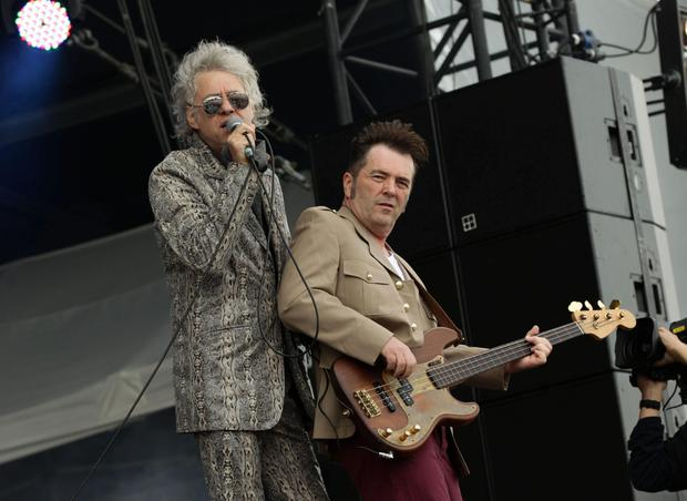 Bob Geldof and Pete Briquette of the Boomtown Rats (PA)