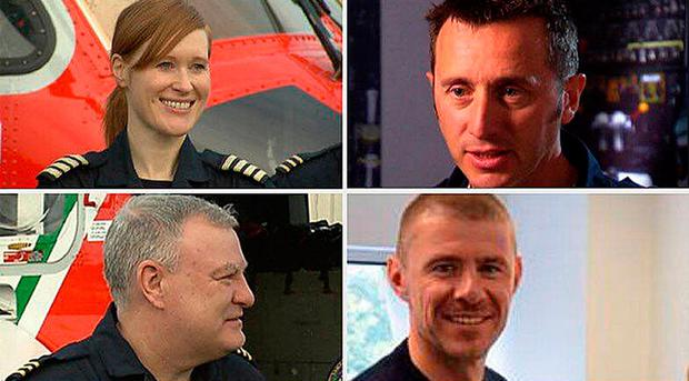 Mourned: (from the top left, clockwise) Capt Dara Fitzpatrick, Capt Mark Duffy, and winchmen Ciaran Smith and Paul Ormsby