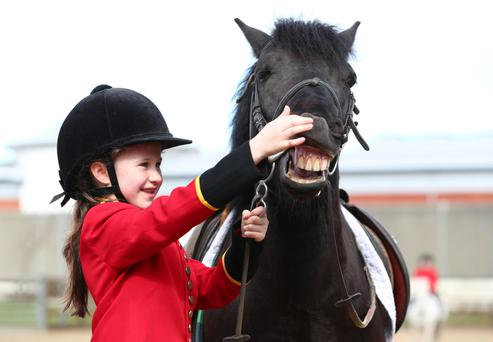 Poppie Beatley (9) and her horse Minstrel rehearsing for 'The Passion Project', a modern-day rendition of The Passion of Christ, which will take place across two days on the streets and in the parks and civic buildings of Ballyfermot and Cherry Orchard this weekend