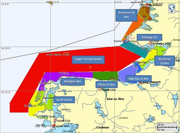 The map breaks down the search zones, each zone has a responsible coordinator. Vessels are required to check in with the relevant coordinator for their zone before commencing search operations and again when standing down Photo: Irish Coast Guard