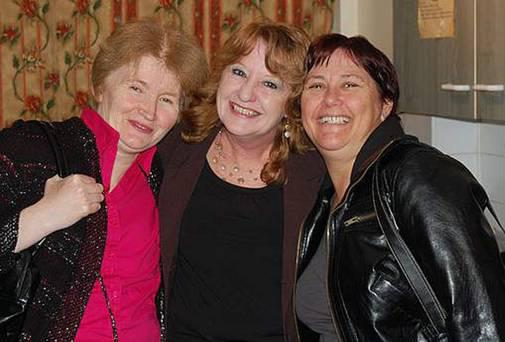 Pamela Hein (centre) with Keith Baker's wife Caroline (left) and Mandy Highfield during her stay at the house