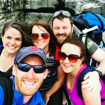 (Clockwise from back left) Grace McDermott with friends Katie Kelleher, Paul Lowndes, Jessie Dowling and Diarmuid Ó Conghaile on Inis Mór last August