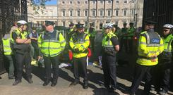 Protesters staged a sit-in at the Dáil