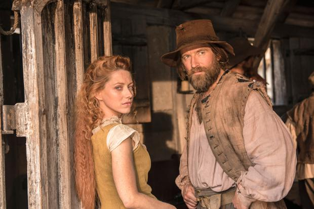 Niamh Walsh as Verity and Dean Lennox Kelly as screen husband Meredith in the Sky series 'Jamestown'