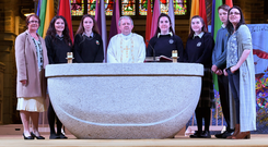 Hero: Donal Walsh's 4th anniversary mass was celebrated last Friday in St John's Church, Tralee. Above are Elma Walsh (Donal's mother), Aoife Wallace, Ruby Verling, Riona Walsh, Fr Tadhg Fitzgerald, Rebecca Devane, Laura Devane, Darragh Walsh and Jemma Walsh (Donal's sister) Photo: Domnick Walsh