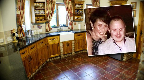 Inside the house in Co Fermanagh Inset: Concepta Leonard and her son Conor