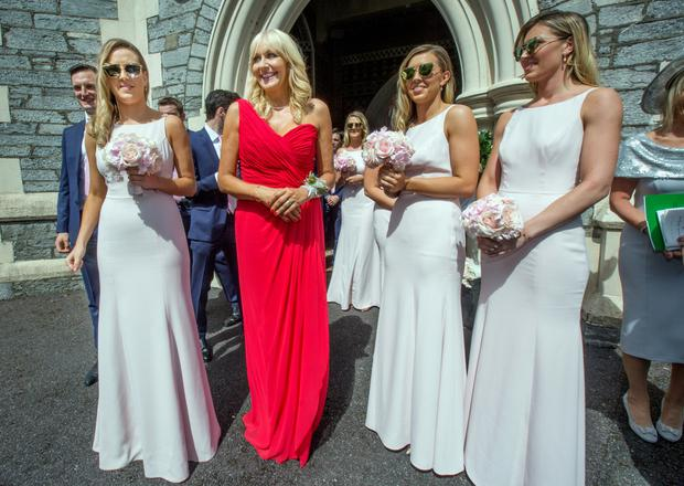 Mother of the bride Miriam O'Callaghan with the bridesmaids at Alannah's wedding. Photo: Tony Gavin