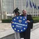 President of Erasmus Student Network, Safi Sabuni pictured with Ryanair CEO Michael O'Leary in Brussels