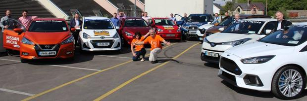 Donegal International Car push participants with members Ena Barrett and Robert O'Connor from Relay for Life