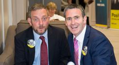 Jerry Buttimer and Damien English at the Fine Gael hustings at the Clayton Silver Springs Hotel, Cork. Photo: Colin O'Riordan