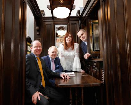 At the official opening of the exhibition were, left to right, John Gleeson from Gleeson's pub, Booterstown, and LVA chairman; Charlie Chawke, publican; Deirdre Devitt, of The Two Sisters Pub, Terenure; and Ronan Lynch, owner of The Swan Pub, York Street. Photo: Sasko Lazarov