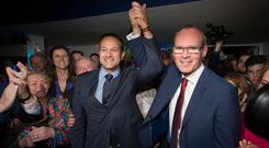 Leo Varadkar's who was elected Fine Gael leader is congratulated by Simon Coveney Pic: Mark Condren