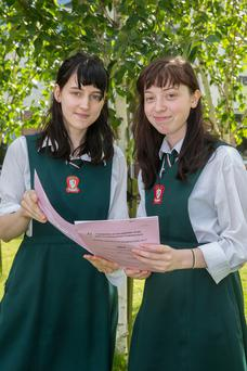 Students Alannah Bates and Elsie Van Dam, of Loreto Secondary School in Clonmel, reviewing the Leaving Cert Art exam. Photo: John D Kelly