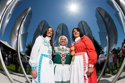 Callie Armstrong, Lillie Roberts and Mandy Lawson from the Choctaw Nation of Oklahoma attend the official dedication of the 'Kindred Spirits' sculpture in Midleton, Co Cork. The sculpture commemorates a donation made by the Choctaw Nation to Ireland during the Great Famine. Picture: Cathal Noonan