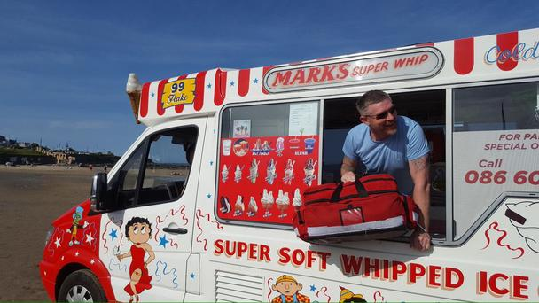 Mark's ice cream truck assisted the Dublin Fire Brigade Photo: DFB