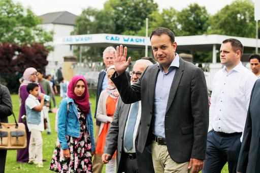 Taoiseach Leo Veradkar visits Islamic Cultural Centre in Clonskeagh Dublin to mark the conclusion of the holy month of Ramadan. (Picture: Stephen Collins/Collins Photos)