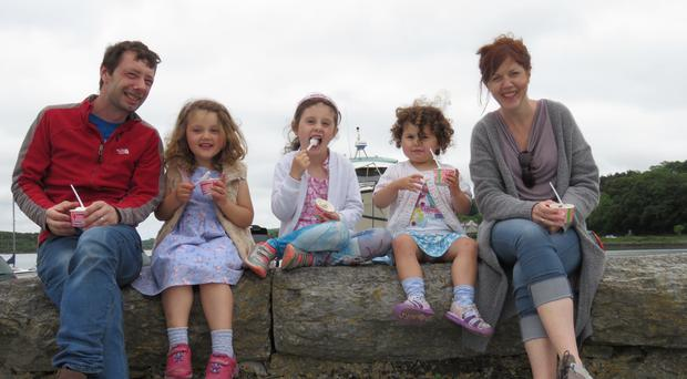 Alex, Orla (5), Molly (7), Lorna (2) and Sharon Forysth