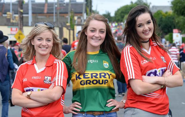 Niamh O'Connor, Juliette Culloty and Breda O'Keeffe at the Munster final in Killarney Photo: Don MacMonagle