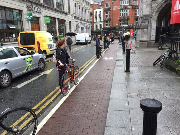 The protesters gathered to protest against cars parking on the St Andrews Lane and Westland Row cycling paths