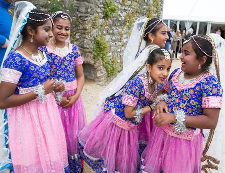Members of Indian Family Club wait for Taoiseach Leo Varadkar to arrive and launch the Creative Ireland Fingal Programme in Swords Castle Photo: Conor Healy Photography