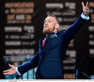 Conor McGregor at the press conference to promote the Mayweather vs McGregor boxing fight in Los Angeles. Photo: Gary A. Vasquez/Sportsfile