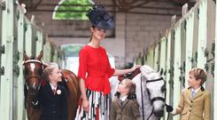 Mia de Bromhead, model Clare, Georgia de Bromhead, and Jack de Bromhead get kitted out for the occasion at the launch of the 2017 Dublin Horse Show in the RDS. Photo: Leon Farrell / Photocall Ireland