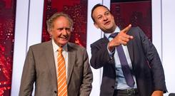 Taoiseach Leo Varadkar with Vincent Browne on his show on TV3. Photo: Arthur Carron
