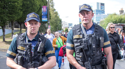 Tight Security: Heavily armed gardai were at the Aviva Stadium for yesterday's pre-season friendly between Athletic Bilbao and Liverpool. Photo: Fergal Phillips
