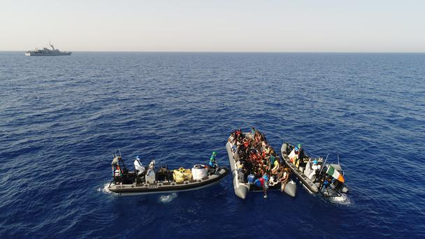 LÉ William Butler Yeats rescued 149 people from a rubber dingy off the coast of Libya