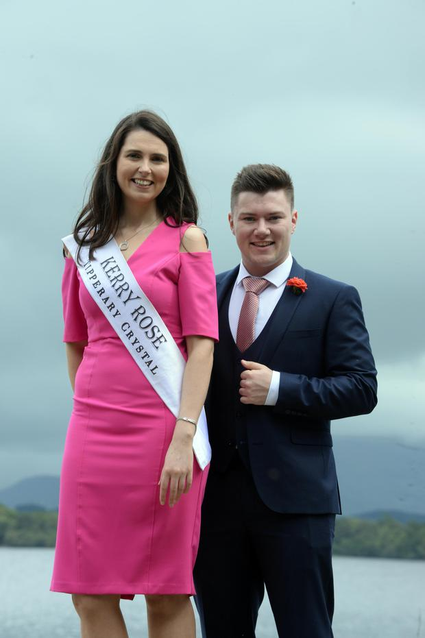 Kerry Rose Breda O'Mahony and rose escort Jackie Healy-Rae junior pictured by Lough Leane, Killarney. Photo Don MacMonagle