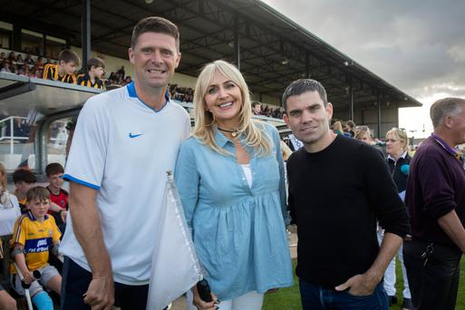 Niall Quinn, Miriam O'Callaghan and Bernard Dunne at the hurling match between Jim Bolger's and Brian Cody's sides at St Conleth's Park in Newbridge. Photo: Arthur Carron