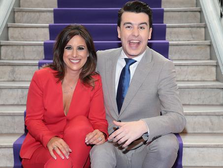Launch party: Ireland's Got Talent host Lucy Kennedy with Blind Date's Al Porter as TV3 unveiled its programming plans for the autumn. Photo: Brian McEvoy