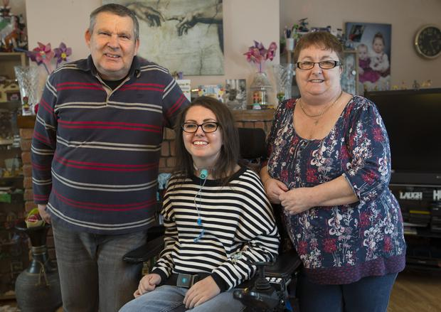 Patricia Ingle with her parents Annette and Patrick at home. Picture Fergal Phillips