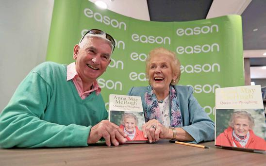 Anna May McHugh at Eason on O'Connell Street with fan Derry O'Donovan. Photo: Donall Farmer