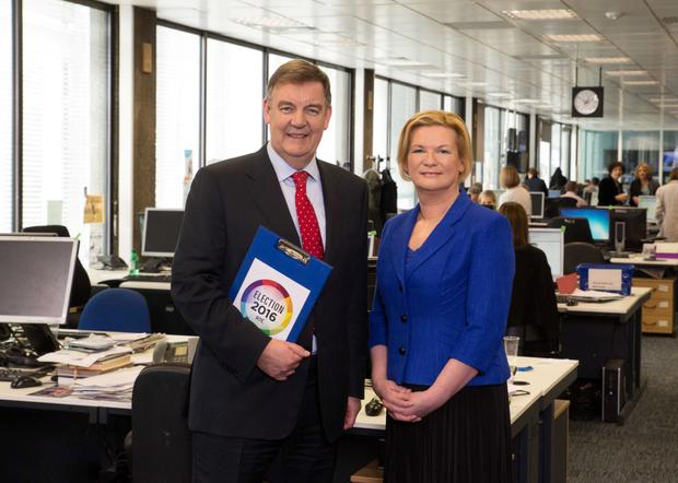 Eileen Dunne with RTE newsroom colleague Brian Dobson last year