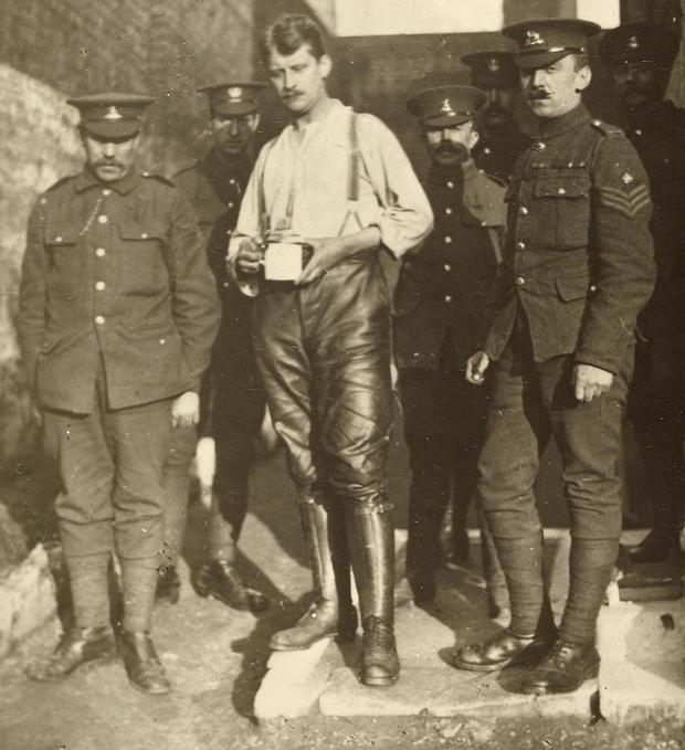Commandant: Thomas Ashe is held by the British Army after being arrested following the Easter Rising, when he led the volunteers at Ashbourne. Photo: National Library of Ireland