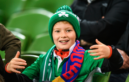 At the match between Ireland and Moldova in the Aviva Stadium last night was Martin Conroy (8) from Co Offaly Photo: Sportsfile