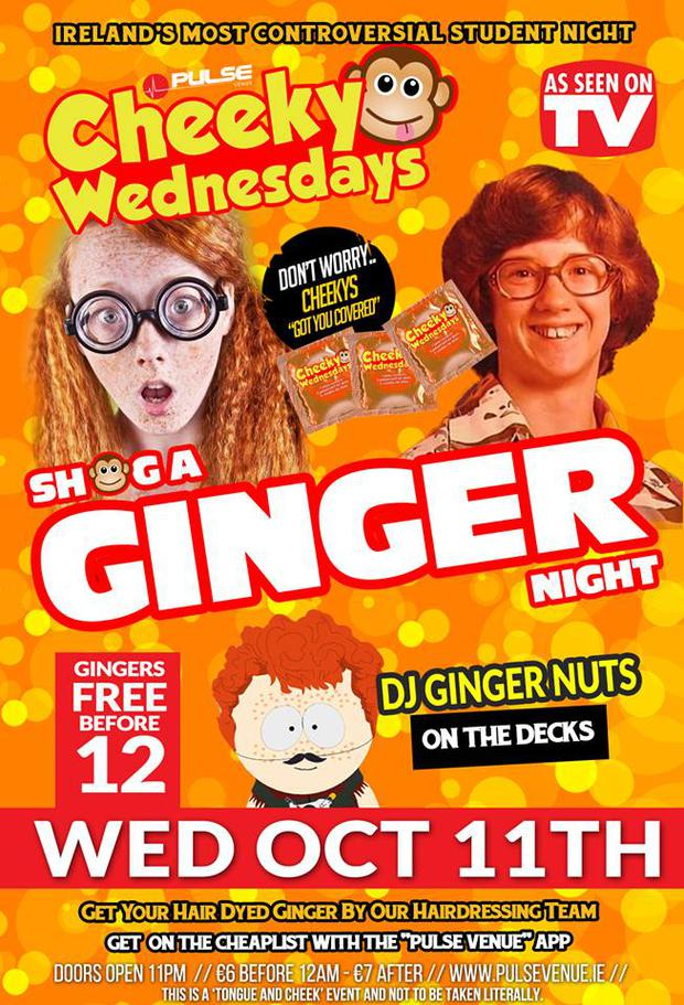 The promotional poster for 'Shag A Ginger' night
