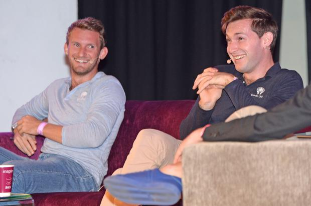 Gary and Paul O'Donovan speaking at Zeminar at the RDS yesterday. Photo: Justin Farrelly