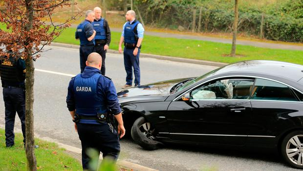 The car from which a man fled before he was arrested and taken from CityWest shopping centre following a major manhunt. Photo: Gerry Mooney