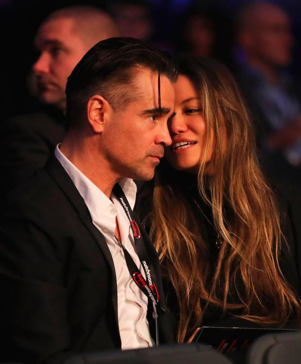 Colin Farrell and friend at the fight. Photo: Getty