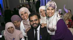 Ibrahim Halawa with his five sisters at the Tatler awards Photo: Paul Sherwood