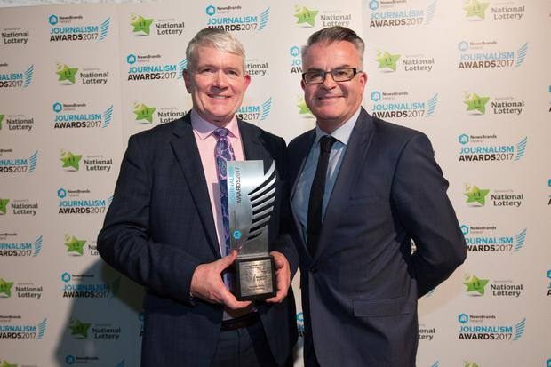 Martin Breheny, Sports Story award winner with INM Group Sports Editor David Courtney