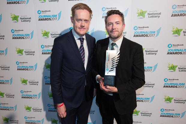 Irish Independent Editor Fionnán Sheahan with John Meagher, Business Story Award winner