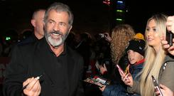 Redemption: Mel Gibson signs autographs at the Dublin première of Daddy's Home 2. Photo: Brian McEvoy