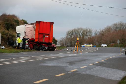 The scene of the crash just off the N25 between New Ross and Ballinaboola, Co Wexford. Photo: Steve Humphries